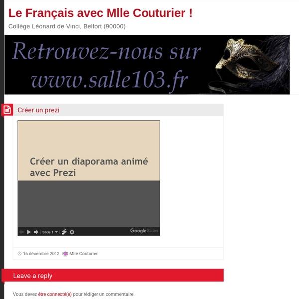 Le Français avec Mlle Couturier !: Créer un prezi