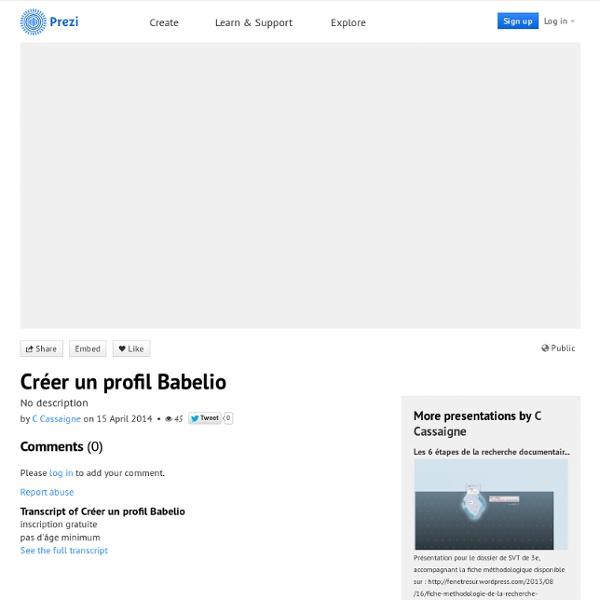 Créer un profil Babelio by C Cassaigne on Prezi
