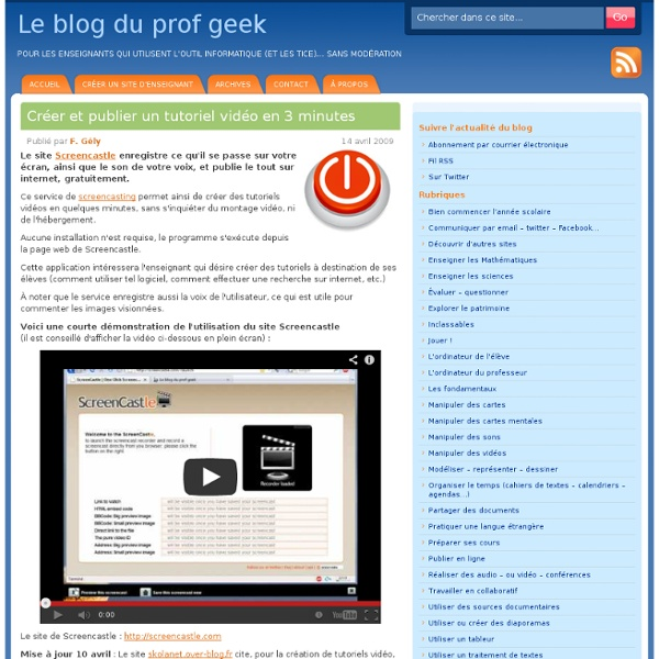 Créer 1 tutoriel vidéo - Screencastle