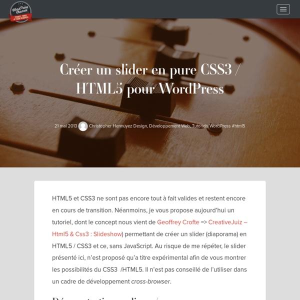 Créer un slider pure HTML5 & CSS3 pour wordpress