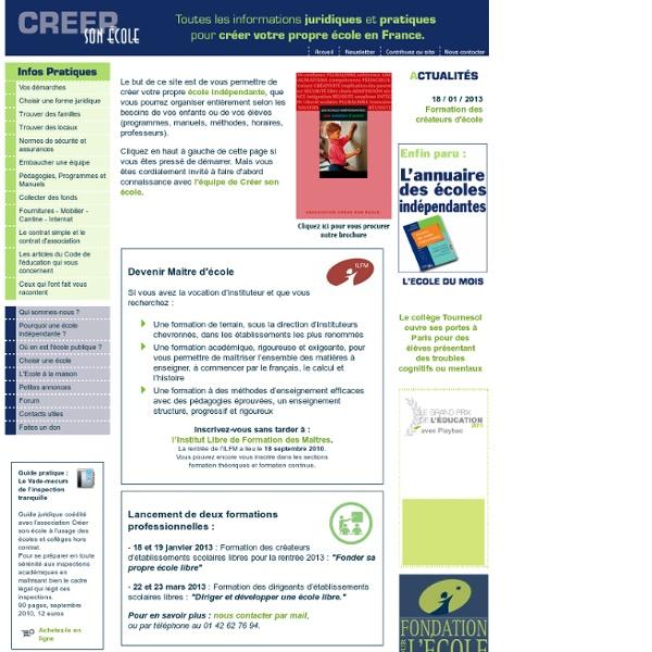 Créer son école - Accueil - Créer son école