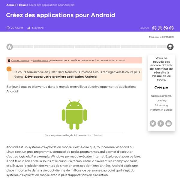 OpenClassrooms - Créez des applications pour Android
