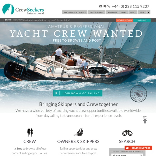 Yacht crew agency, yacht crew vacancy, sailing crew from Crewseekers