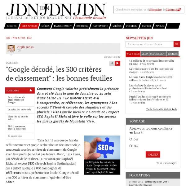 """""""Google décodé, les 300 critères de classement"""" : les bonnes feuilles"""