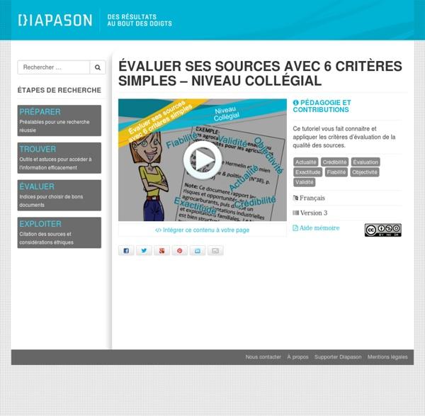 Évaluer ses sources avec 6 critères simples - Niveau collégial