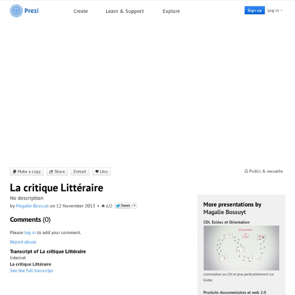 La critique Littéraire by Magalie Bossuyt on Prezi