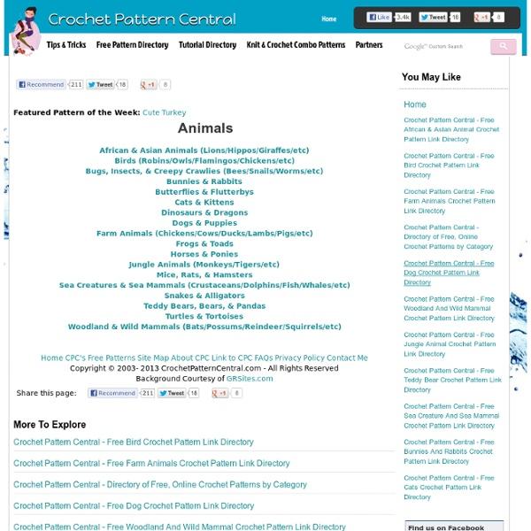 Free Crochet Patterns Directory : Free Animal Crochet Pattern Link Directory Pearltrees