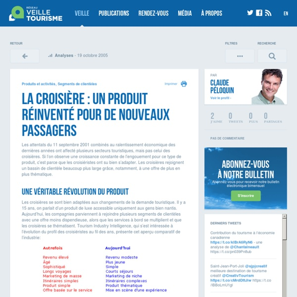 La croisière : un produit réinventé pour de nouveaux passagers - Réseau de veille en tourisme