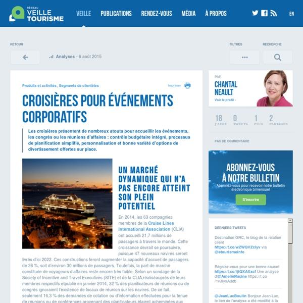 Croisières pour événements corporatifs - Réseau de veille en tourisme