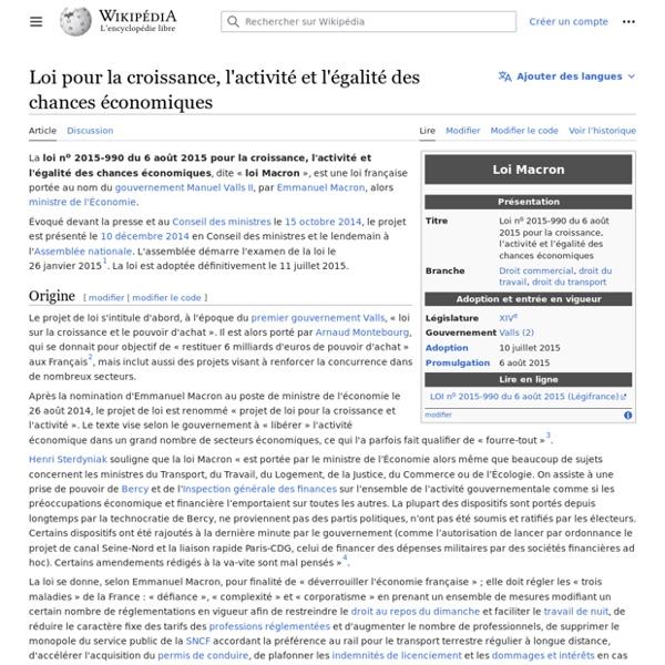 Loi pour la croissance, l'activité, et l'égalité des chances ... - Wikipédia