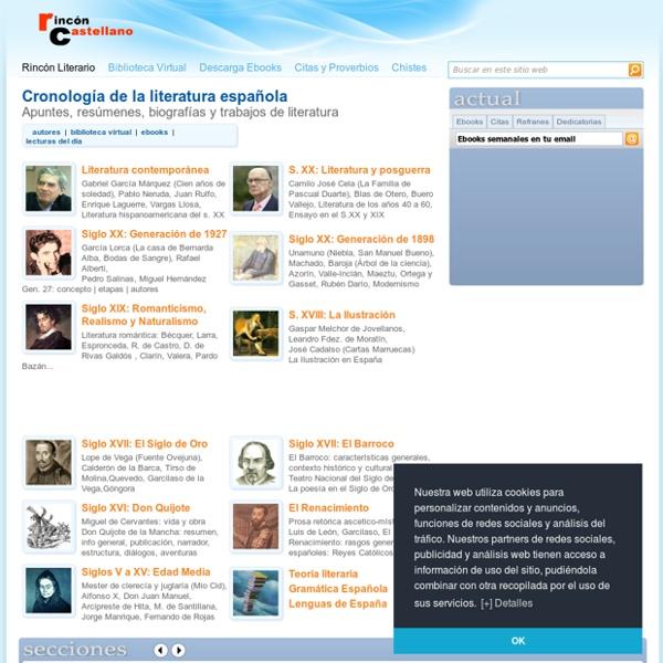 Cronologia de la Literatura Española - RinconCastellano