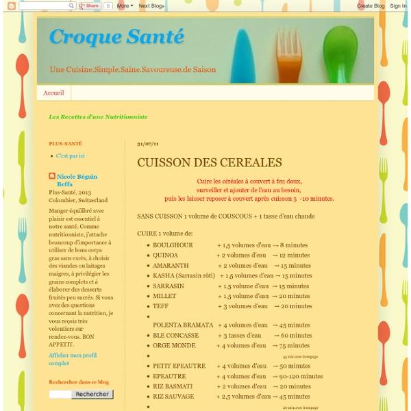 CUISSON DES CEREALES