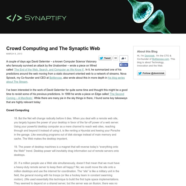 Crowd Computing and The Synaptic Web