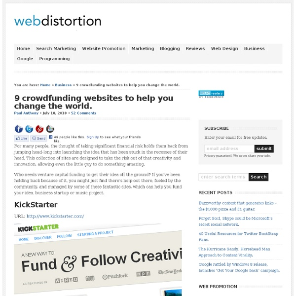 9 crowdfunding websites to help you change the world.