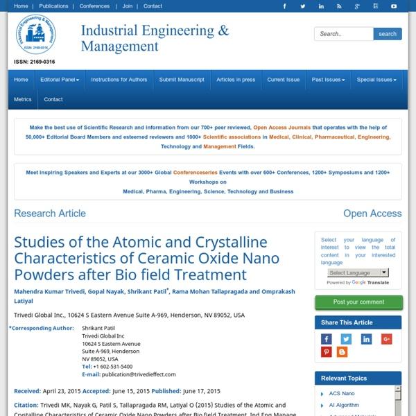 Characteristics of Ceramic Oxide Nano Powders