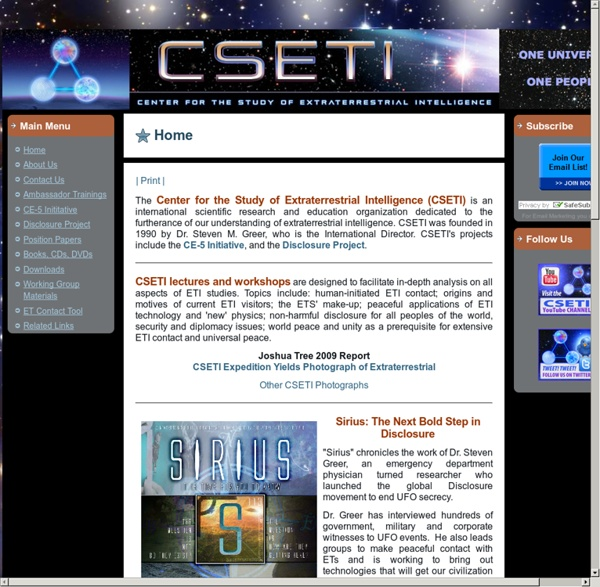 Center for the Study of Extraterrestrial Intelligence (CSETI) Home Page