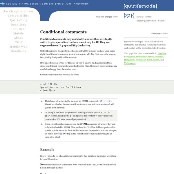 CSS - Conditional comments