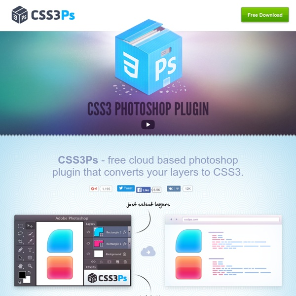 CSS3Ps - free cloud based photoshop plugin that converts layers to CSS3 styles.