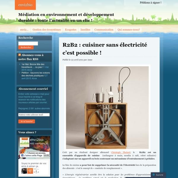 R2B2 : cuisiner sans électricité c'est possible !