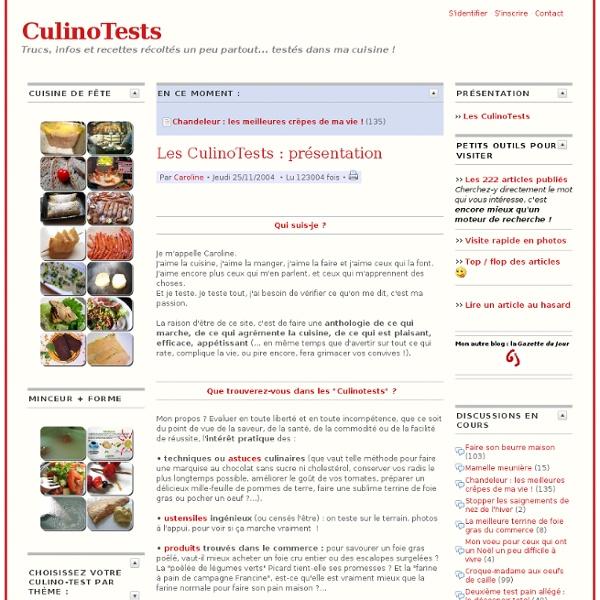 Les CulinoTests: présentation