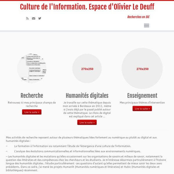 Culture de l'Information. Espace d'Olivier Le Deuff