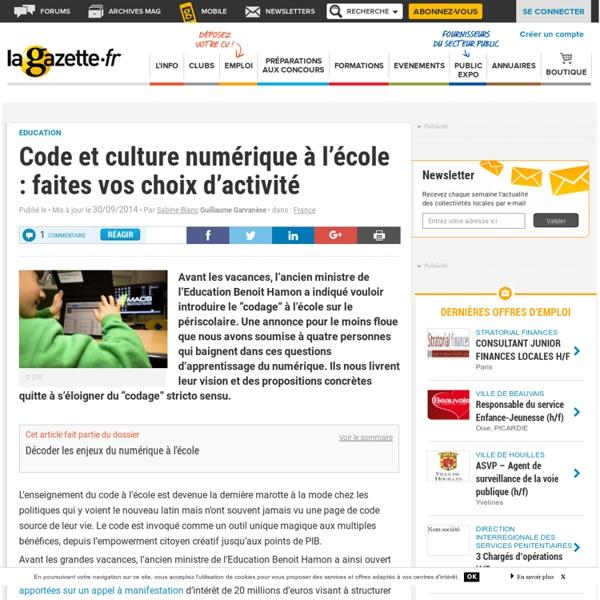 Code et culture numérique à l'école : faites vos choix d'activité