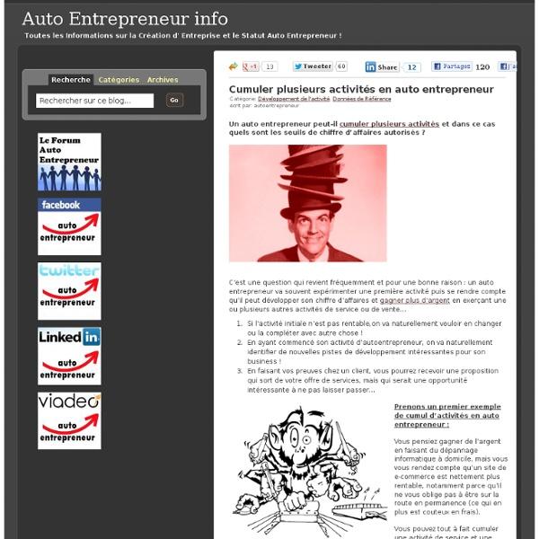 Cumuler plusieurs activités en auto entrepreneur