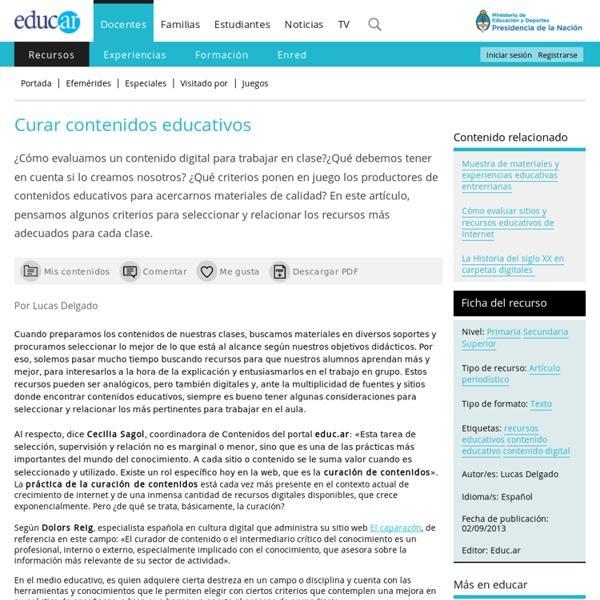 Curar contenidos educativos