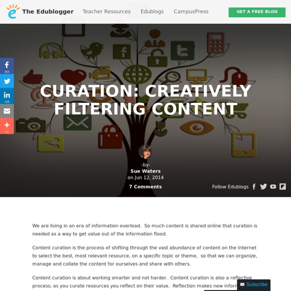 Edublogger - Sue Waters - Curation: Creatively Filtering Content