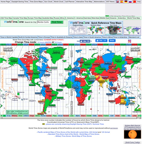 WorldTimeZone - Current time around the World and standard time zones map of the world- 12 format