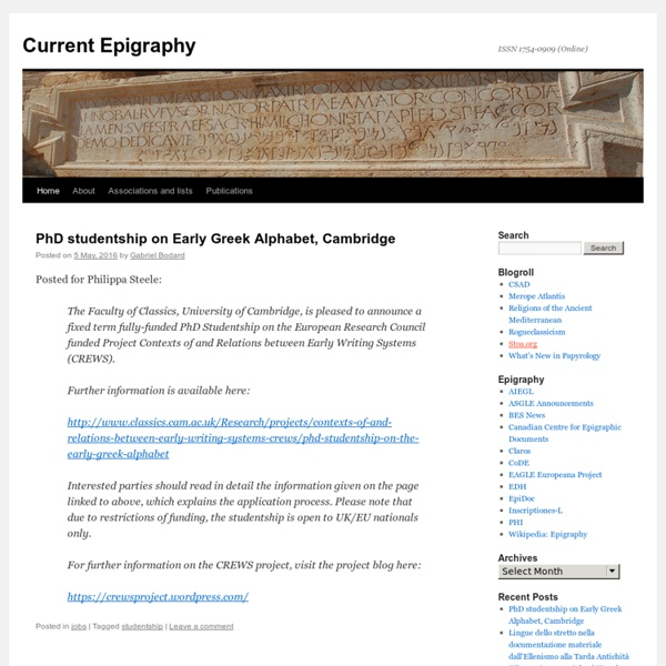 Current Epigraphy