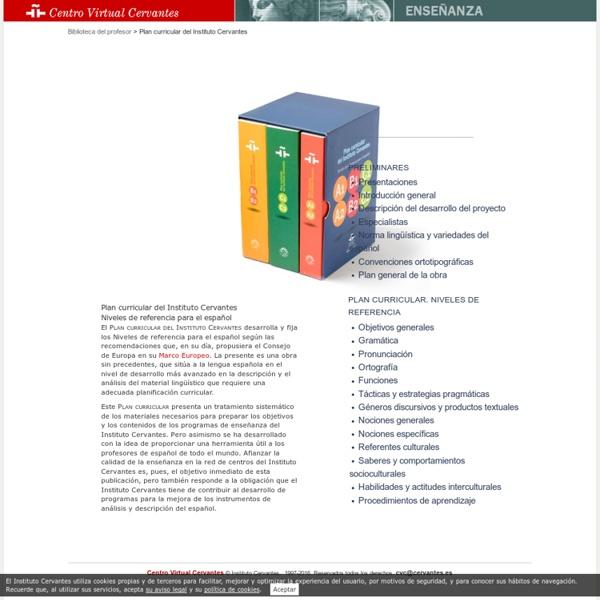 Plan Curricular del Instituto Cervantes. Niveles de referencia para el español.