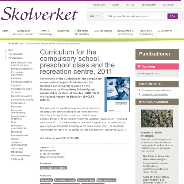 Curriculum for the compulsory school, preschool class and the recreation cent...