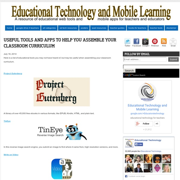 Educational Technology and Mobile Learning: Useful Tools and Apps to Help You...
