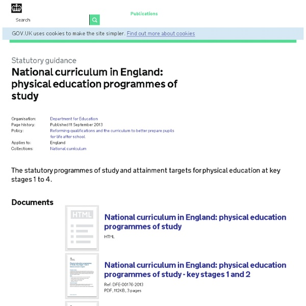 National curriculum in England: physical education programmes of study - Publications