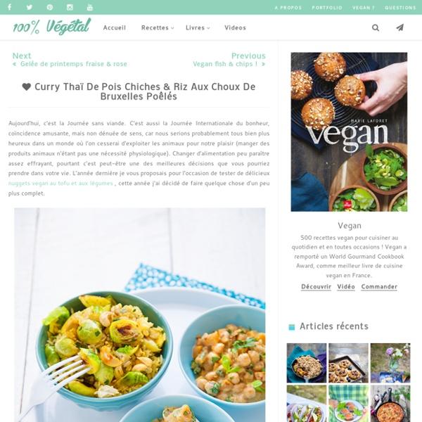 Curry thaï de pois chiches & riz aux choux de Bruxelles poêlés