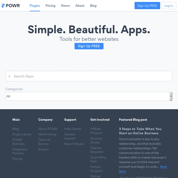 Customizable plugins library for websites