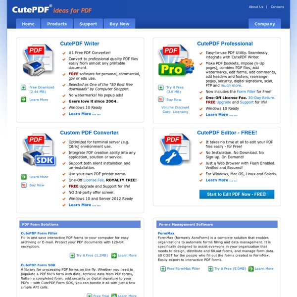 CutePDF - Convert to PDF for free, Free PDF Utilities, Save PDF Forms, Edit PDF easily.