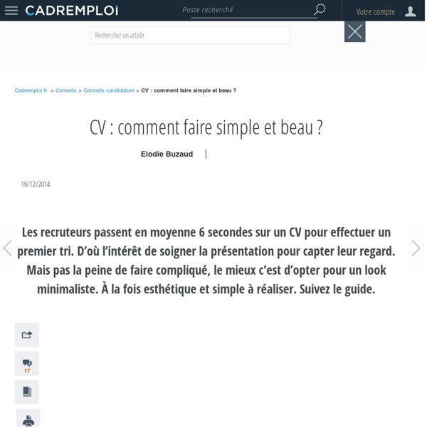Cv comment faire simple et beau pearltrees for Salon simple et beau