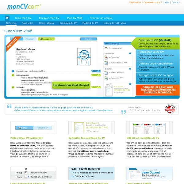 MonCV.com : CV - Curriculum vitae - Faire un CV - CV gratuit