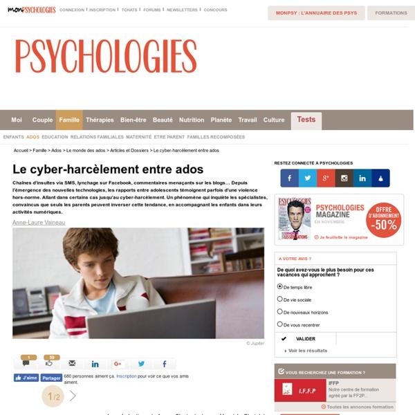 Le cyber-harcèlement entre ados