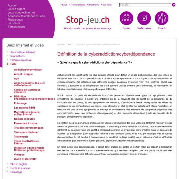 Définition cyberaddiction/cyberdépendance - Stop-jeu.ch