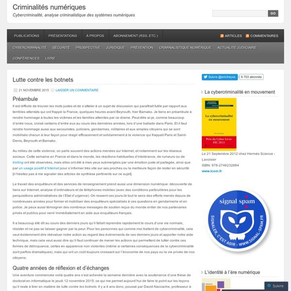 Cybercriminalité, analyse criminalistique des systèmes numériques