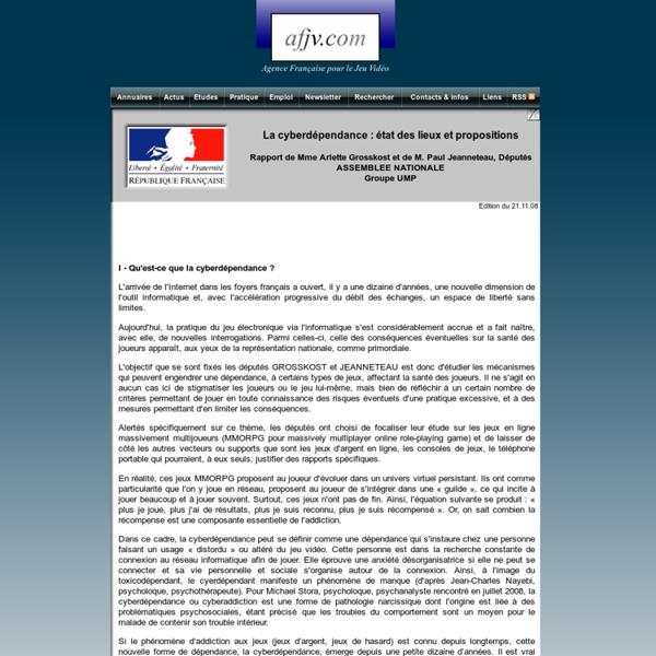 Rapport : La cyberdépendance : état des lieux et propositions