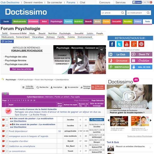 Cyberdépendance - Forum libre Psychologie