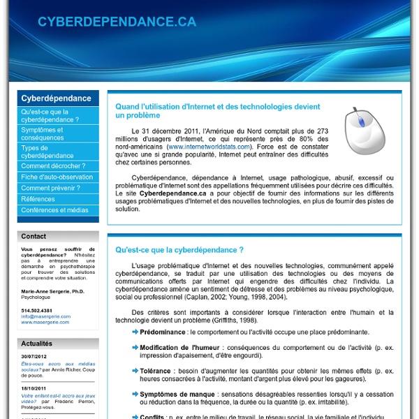 Cyberdependance.ca - Quand l'utilisation d'Internet devient un problème