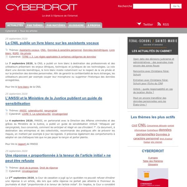 Cyberdroit - Le droit à l'épreuve de l'Internet