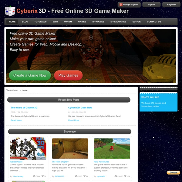 Cyberix3d free online 3d game maker pearltrees for 3d creator online