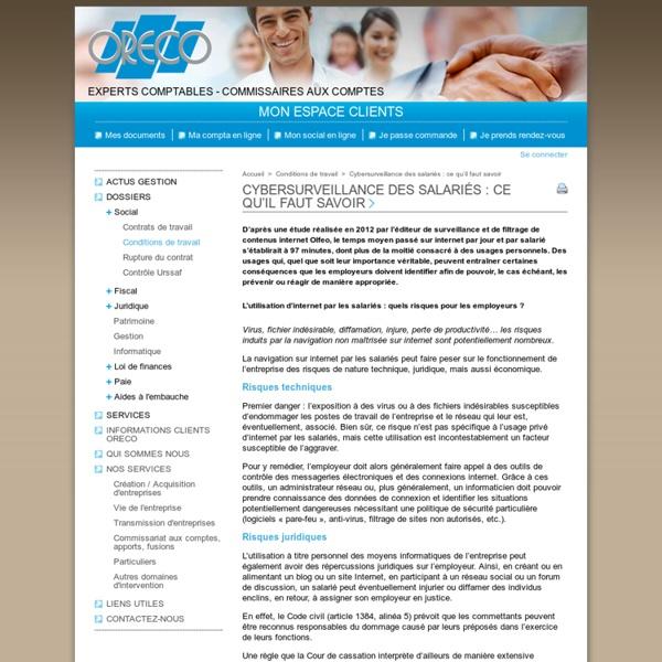 Cybersurveillance des salariés: ce qu'il faut savoir - Conditions de travail - CABINET ORECO