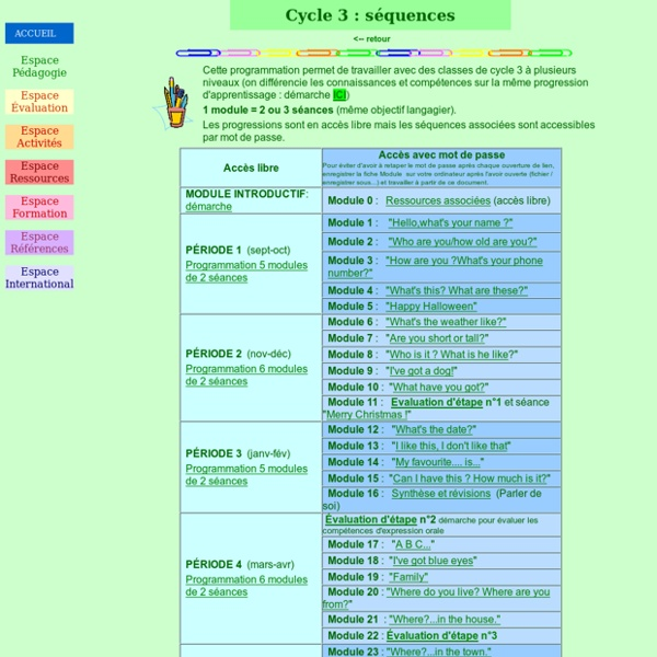 Cycle 3 : prog et séquences